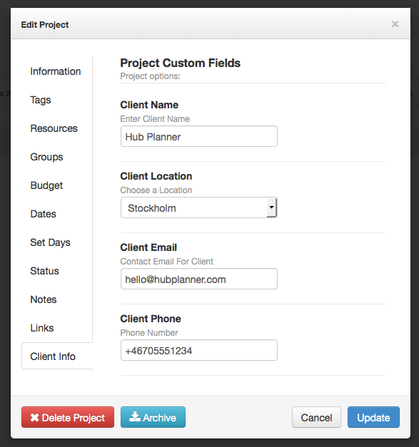 Hub Planner Custom Fields