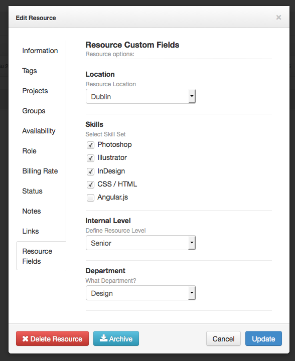 Resource Custom Fields Hub Planner