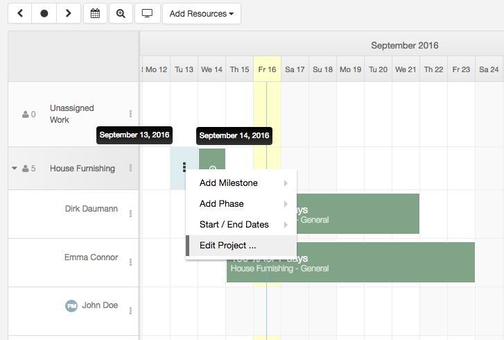 click-project-or-a-booking-menu