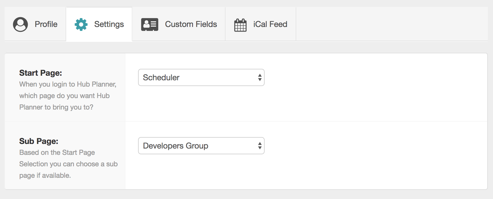 Hub_Planner_Start_Page_Selection