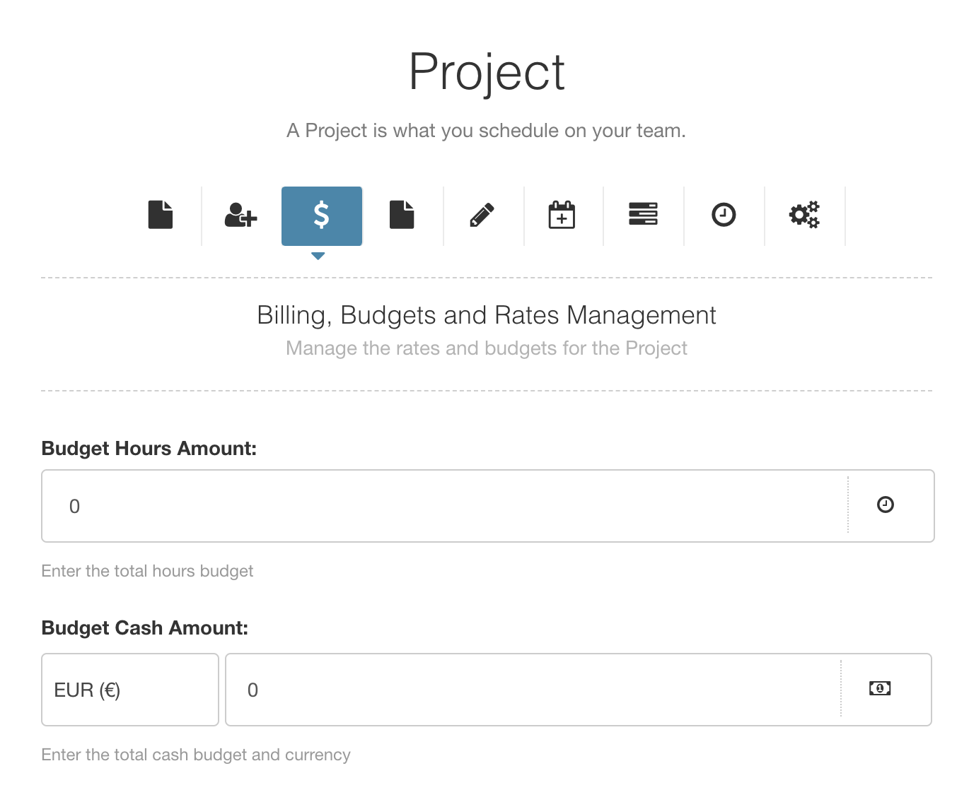 project budget rates hub planner