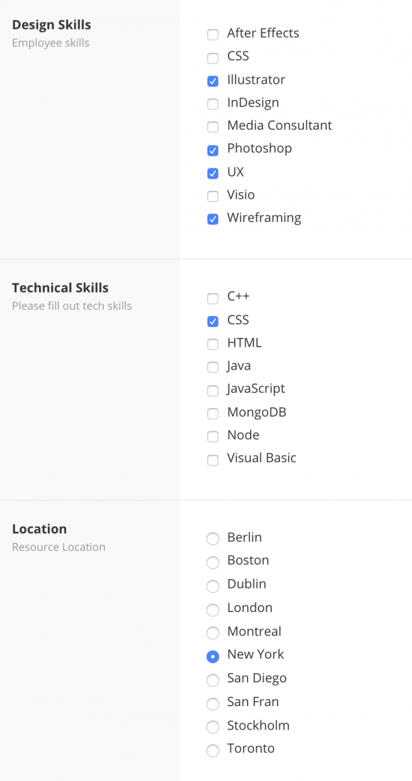 Resource Skills Matrix